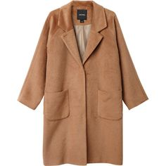 Monki Karen coat (€85) ❤ liked on Polyvore featuring outerwear, coats, jackets, coats & jackets, classy camel, camel coat, monki, oversized camel coat, oversized coat and beige coat
