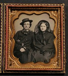 Sixth Plate Daguerreotype Portrait of a Couple | Sale Number 2567B, Lot Number 9 | Skinner Auctioneers
