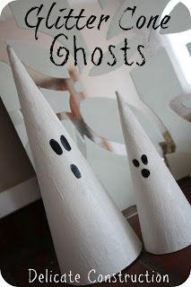 DIY Glitter Cone Ghosts