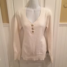 """St Johns Bay sweater About 27"""" long. Three faux buttons in the front. St. John's Bay Sweaters Crew & Scoop Necks"""