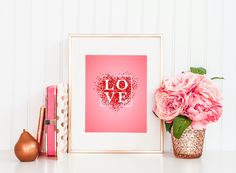 """""""Love"""" Mother's day printable wall art is a printable, digital artwork for Instant Download, created to celebrate Mother's Day, your mum's birthday, an anniversary, or just to say """"I Love You"""". The card can be printed at home, print shop, online print service or emailed as a digital file."""