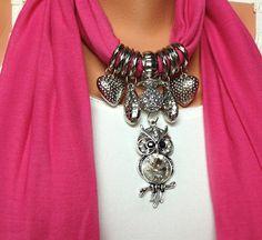 Owl jewelry scarf 2 different color new season por BienBijou