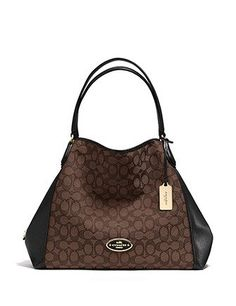 5342e421581da Coach Edie Shoulder Bag in Signature Jacquard and Leather Street Style  Women