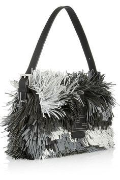 Fendi|Baguette fringed leather shoulder bag|NET-A-PORTER.COM
