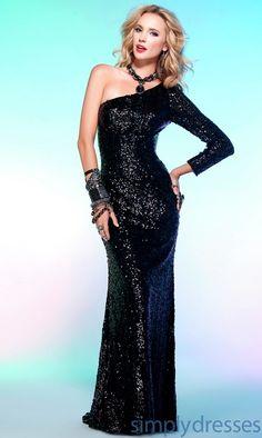 $298 One Long Sleeve Floor Length Sequin Dress Scala-Q17085
