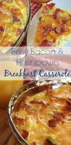 Looking for breakfast ideas? This bacon breakfast casserole is so easy you'll flip. It's great to use for week morning breakfasts and easy to reheat, too. Or, add it to your brunch recipes menu. You'll be so glad you did. Ingredients include 3 cups hash b Make Ahead Breakfast Casserole, Breakfast Desayunos, Breakfast Dishes, Breakfast Recipes, Breakfast Ideas, Hashbrown Breakfast Casserole Bacon, Bacon Breakfast Casserole, Breakfast Casseroles With Hashbrowns, Hashbrown And Egg Casserole