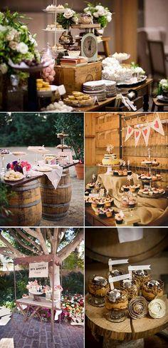 Mesas de postre para bodas rústicas