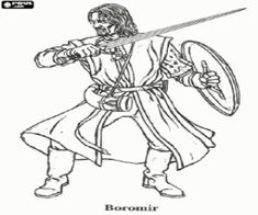 Boromir Tries To Take The Ring From Frodo By Force Coloring Page Lord Of RingsThe