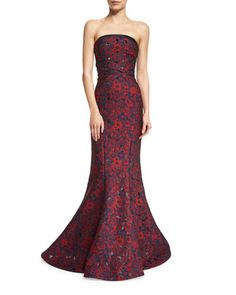 Strapless+Floral-Print+Mermaid+Gown,+Floral+by+Zac+Posen+at+Neiman+Marcus.