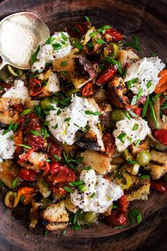 Pepper Panzanella with Burrata & Olives, the most decadent, rustic, simple summer appetizer full of so much summer goodness - The Original Dish, www.theoriginaldish.com