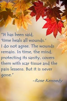 """""""It has been said, 'time heals all wounds.' I do not agree. The wounds remain. In time, the mind, protecting its sanity, covers them with scar tissue and the pain lessens. But it is never gone."""" -Rose Kennedy"""
