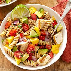 Cilantro-Lime Pasta Salad  -  packed with fresh fruits and veggies, just 357 calories per serving, perfect for sticking to any healthy diet.