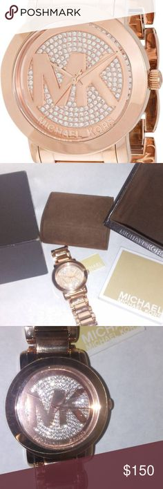 eba3b04a75e1 watch michael kors womens runway rose gold crystal Michael Kors Women s  Runway Rose Gold Tone Crystal