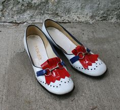 60s Red White and Blue Shoes por Way2Cool en Etsy