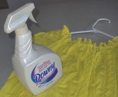 Homeade Downy Wrinkle Releaser: Fill a spray bottle with distilled water; add 1 teaspoon liquid  fabric softener (go ahead and use Downy and you'll even duplicate the  fragrance).
