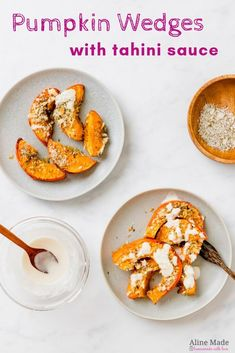 Roasted Pumpkin Wedges with Tahini Sauce Roasted pumpkin wedges in the oven with a delicious homemade Tahini sauce – healthy, simple, and tasty! A pumpkin recipe with crunch and flavor! Roast Pumpkin, Vegan Pumpkin, Healthy Pumpkin, Baked Pumpkin, Healthy Soup, Pumpkin Recipes Healthy Dinner, Pumpkin Sauce, Dinner Healthy, Recipes