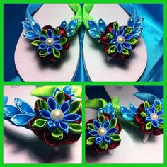 Blue and green kanzashi flowers on thongs flip flops.