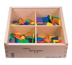 Original Holz Legespiel geometrische Formen (Spielgabe 7, Teil 1) mit Quadrat, Raute und Dreiecken, Made in Germany, für Kindergarten und Schule, kompatibel mit den Holzbausteinen nach Fröbel