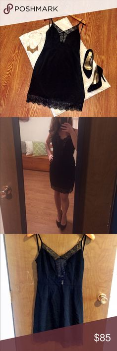 """NWT LF Lacey LBD Brand new with tags. Size small, fits true. Little black dress from LF with plunging lace detailing at chest and lace at hemline. Side zipper. Approx. 34"""" from shoulder to hemline. I wear a 4-6 for reference. LF Dresses"""