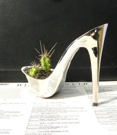 Fembot silver stiletto cactus planter feminist by giddyspinster via Etsy