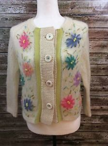 Free People SZ M Ivory Mohair Wool BIG Flower Power Button UP Cardigan | eBay