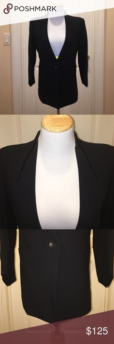 """Helmet Lang Black Jacket w Leather Detail Sz 2 Helmet Lang Black Jacket w Leather Detail Sz 2, one button jacket, 2 front just for design pockets, great angles on this jacket, small open slit up back, worn once, bought at Intermix, forgot retail will say $695, made with viscose, wool and elastane, lining is Silk and spandex, measured top center of jacket measured down 26"""", armpit to armpit about 16.5"""" Helmut Lang Jackets & Coats"""