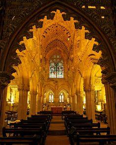 Rosslyn Chapel, Scotland. Famous for the Da Vinci code story.