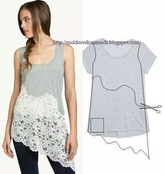 Add lace to top to make it longer