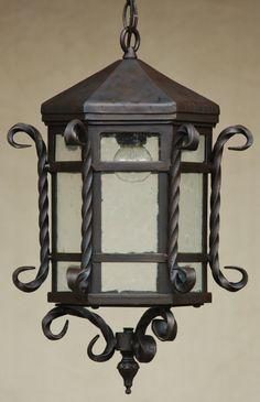 "Hanging Lantern-Hand Forged-Wrought Iron/ Tuscan lantern Height : 18"", Width: 12"" 60 watt light bulb"