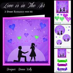 Love is in the air purple on Craftsuprint designed by Donna Kelly - Romantic marriage proposal pyramid card, cute and romantic in purple tones with many labels and a large tag. Approx 6x6 Sentiments include, Marry me, together forever, Be mine forever, I love you - Now available for download!