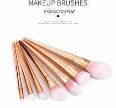 7pcs Superior Golden Cosmetic Brushes Fiber Makeup Tools Kit #makeup #makeupbrushes #brush