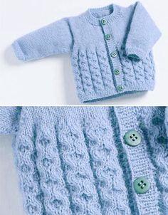 Crochet Baby Cardigan Free Pattern, Baby Cardigan Knitting Pattern Free, Crochet Baby Sweaters, Baby Sweater Patterns, Knitted Baby Cardigan, Baby Hats Knitting, Free Knitting, Sweaters Knitted, Baby Girl Cardigans