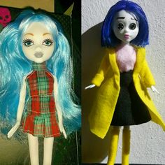 I changed the doll in the 1st pic to the doll in the 2nd picture  Coraline's clothes are sewn by myself, also I cut her hair by myself. I dyed her hair with a blue mascara and gave it a hairspray-finnish to stay long-time. With fine waterproof markers I painted her face. Finally I stuck two buttons with pins in her eyeholes. Hope you like it :)  #doll #dollrepaint #cosplay #cosplaydoll  #coralinejones #coraline #yellow #blue #black #finished #thatsmykindofart #selfmade