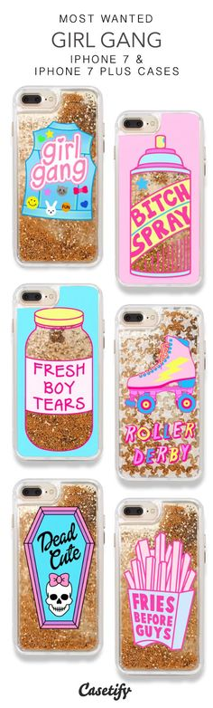 Most Wanted Girl Gang iPhone 7 Cases & iPhone 7 Plus Cases. More Protective Liquid Glitter Gangster iPhone case here > https://www.casetify.com/en_US/collections/iphone-7-glitter-cases#/?vc=lasDcw0ZKh