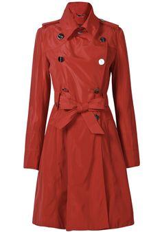 Red Long Sleeve Epaulet Belt Trench Coat