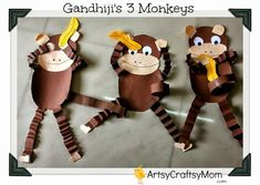 Mahatma Gandhi 3 monkey craft , M for Monkey , Animal Crafts, rainforest theme craft,
