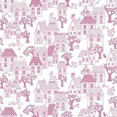 My House Pink (LL-05-09-2) - Galerie Wallpapers - An all over wallpaper design featuring various houses, trees and people. Shown here in pink on white. Other colourways are available. Please request a sample for a true colour match. Paste-the-wall product.