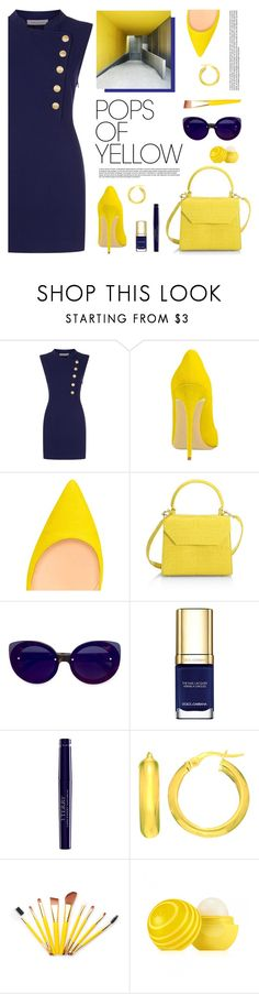"""Pops of Yellow"" by tamara-p ❤ liked on Polyvore featuring Pierre Balmain, Nancy Gonzalez, RetroSuperFuture, Dolce&Gabbana, By Terry, Eos, PopsOfYellow and NYFWYellow"