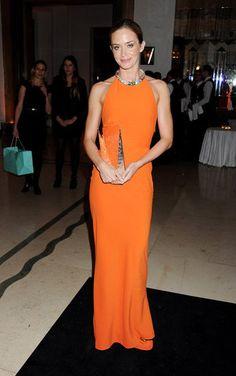 Emily Blunt wore an Alexander McQueen gown at the  Harper's Bazaar  Women of the Year Awards in London.