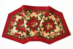 CHRISTMAS Star Table Runner - Holly Night Quilted Table Runner - Christmas Holiday Decor - Xmas Table Runner Topper - Star Table Quilt by Jambearies on Etsy