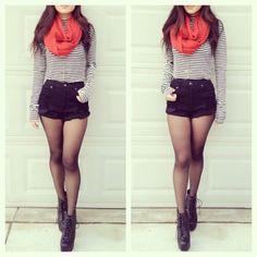 infinity scarf, long sleeve striped shirt, high waisted black shorts, and sheer black panty hose.