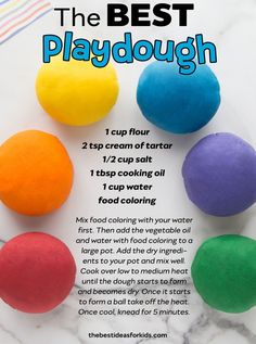 - the best playdough recipe you'll ever try! Soft and lasts for months! Easy to make too! The BEST playdough recipe you will ever try with only 5 ingredients! This homemade playdough is soft, easy to make and lasts for months! Infant Activities, Craft Activities, Preschool Crafts, Summer Activities, Indoor Toddler Activities, 18 Month Old Activities, Rainy Day Activities For Kids, Playdough Activities, Sensory Activities Toddlers