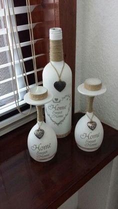 Setje fles met wijnglazen home sweet home #winebottle