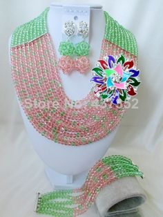 Exclusive Light Green Peach Color Crystal Costume Necklaces Nigerian Wedding African Beads Jewelry Sets Free shipping NC930 $48.70