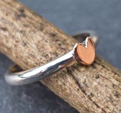 stackable copper and sterling silver heart ring $22