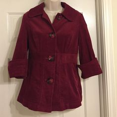 """SALE!!! Corduroy jacket with 3/4 length sleeves In excellent condition, only worn a few times. There are pockets in the front. Sleeve length (unrolled) is 14.5"""", jacket length (armpit to hem) is 17"""" and width (armpit to armpit) is 17"""". Very cute and stylish, perfect for the holidays! Ambition Jackets & Coats"""