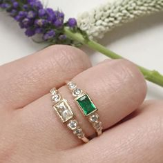 Vale Jewelry Emerald and Yellow Sapphire Aurora Baguette Rings