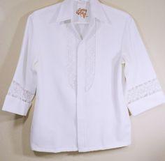 Vintage Beau Tiki Hawaiian Wedding Shirt Men's L Floral Lace Made In Hawaii #BeauTikiIolani #Hawaiian