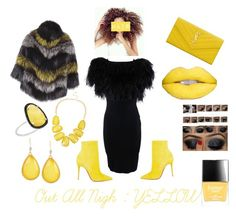 """""""Out All Night Collection Yellow Edition"""" by im-love-with-the-cocoa-channel on Polyvore featuring Giambattista Valli, BLANCHA, Yves Saint Laurent, Christian Louboutin, Christina Debs, Butter London, yellow, YSL, fur and yellowlips"""