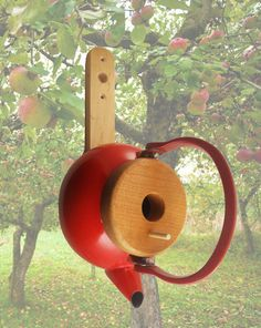 Teapot Birdhouse. If you put no perch, I wonder if bluebirds would use this.